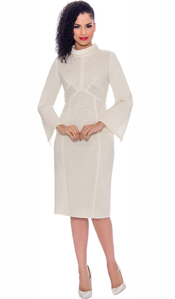 Terramina 7776-Ivory - Embellished Bell Sleeve Roll Collar Dress In Scuba Fabric