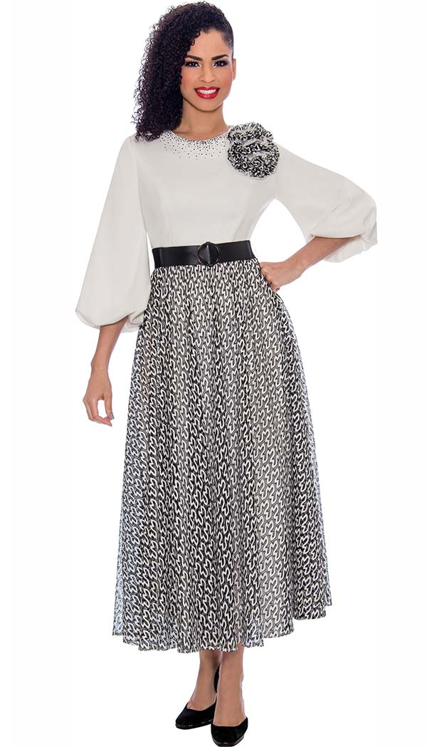Terramina 7779-Black - Abstract Pattern Dress With Solid Puff Sleeve Bodice Including Flower Adornment