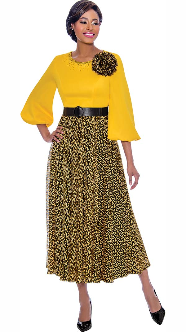 Terramina 7779-Gold - Abstract Pattern Dress With Solid Puff Sleeve Bodice Including Flower Adornment