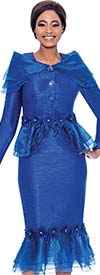 Terramina 7780-Royal - Ladies Church Suit With Ruffle Trimmed Skirt And Jacket