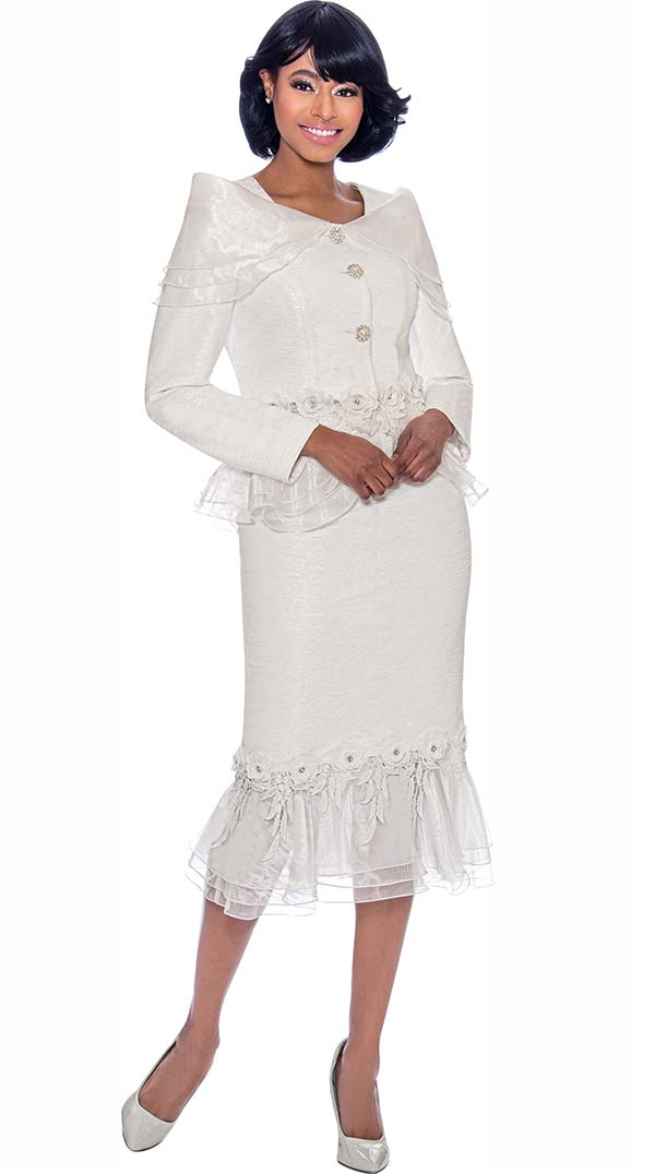 Terramina 7780-White - Ladies Church Suit With Ruffle Trimmed Skirt And Jacket