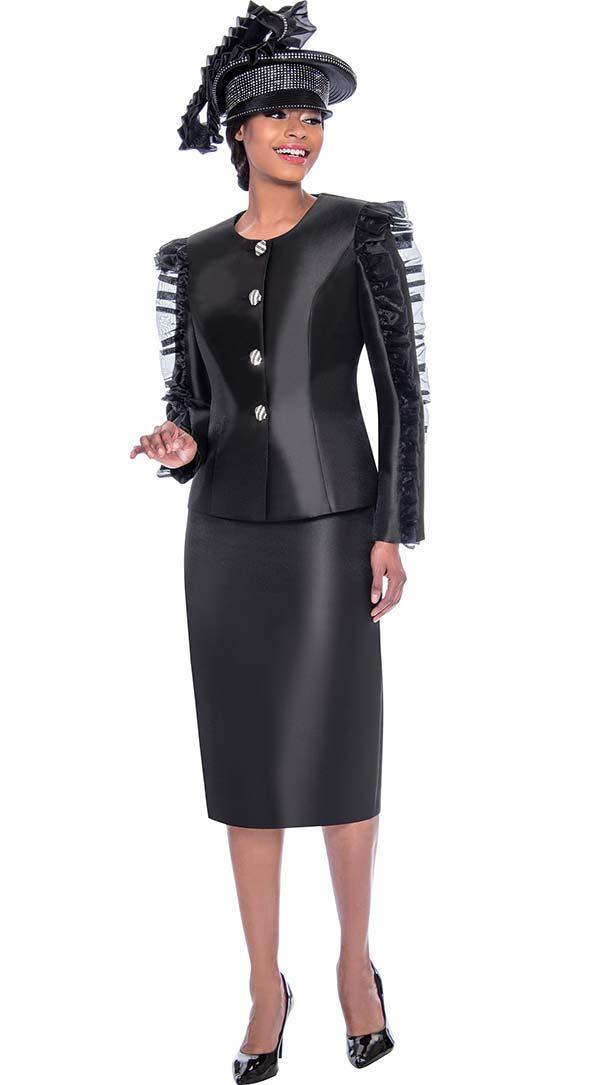 Terramina 7781-Black - Ladies Skirt Suit With Ruffle Sleeve Adornment Design On Jacket