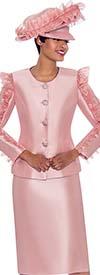 Terramina 7781-Rose - Ladies Skirt Suit With Ruffle Sleeve Adornment Design On Jacket
