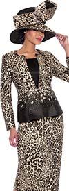 Terramina 7783 - Three Piece Womens Skirt Suit With Leopard Pattern Design