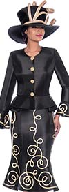 Terramina 7784-Black - Flared Skirt Suit With Piping Adornment Design And Bell Cuff Peplum Jacket