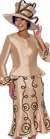 Terramina 7784-Champagne - Flared Skirt Suit With Piping Adornment Design And Bell Cuff Peplum Jacket