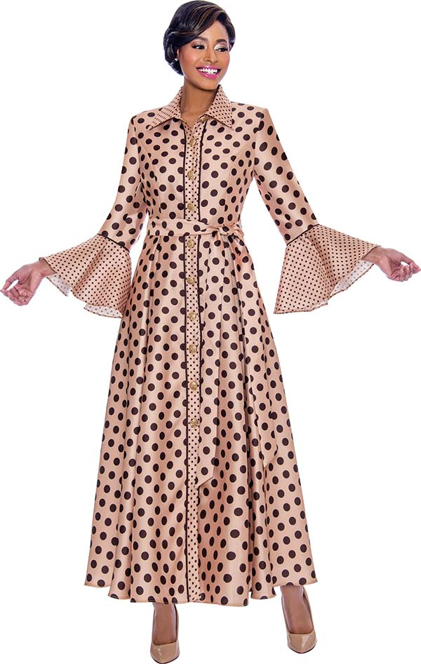 Terramina 7785-Champagne - Long Pleated Dress In Polka Dot Design With Bell Cuff Sleeves