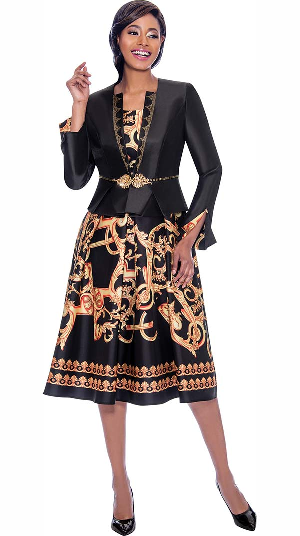 Terramina 7786 Pleated Dress & Jacket Set With Multi Color Print Design