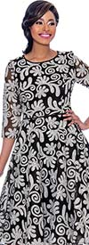 Terramina 7787 Three Quarter Sleeve Pleated Dress With Sequined Pattern