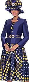 Terramina 7788 - Multi Color Polka Dot Design Pleated Dress With Star Neckline Jacket