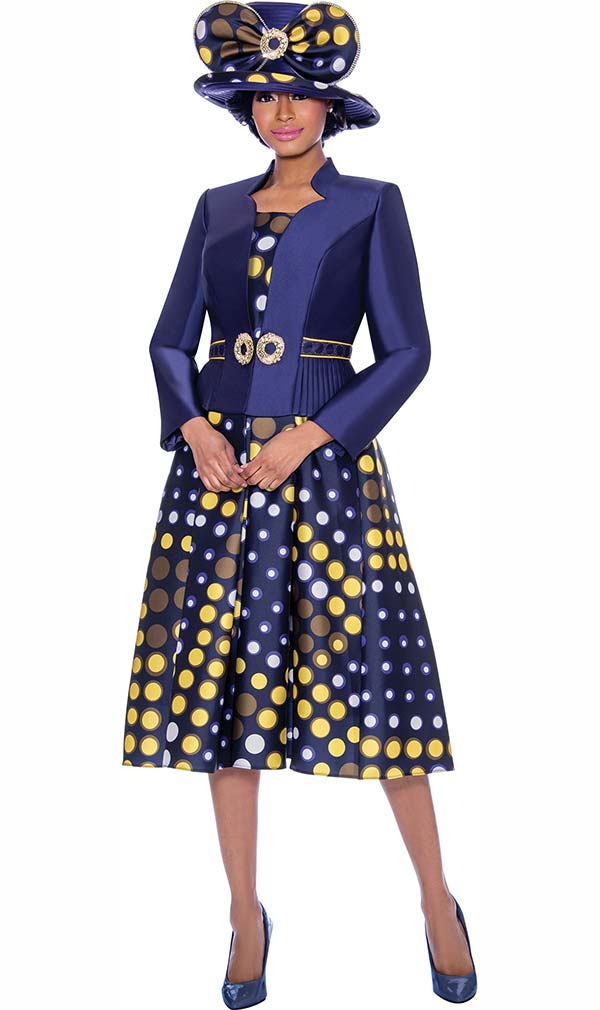 Terramina 7788 - Multi Color Polka Dot Design Pleated Dress With Star Neckline Jacket