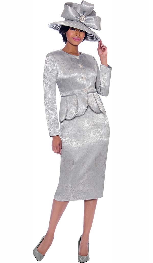 Terramina 7790 - Womens Skirt Suit With Scallop Trim Jacket In Leaf Imprint Design Fabric