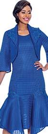 Terramina 7791-Royal - Drop Waist Dress With Handerkerchief Flounce Hem And Bolereo Jacket