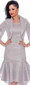 Terramina 7791-Silver - Drop Waist Dress With Handerkerchief Flounce Hem And Bolereo Jacket