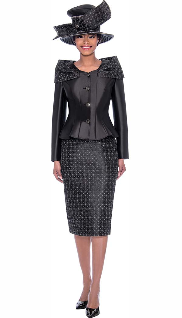 Terramina 7792-Black - Womens Church Suit With Shoulder Accented Peplum Jacket And Grid Patterned Skirt