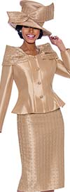 Terramina 7792-Gold - Womens Church Suit With Shoulder Accented Peplum Jacket And Grid Patterned Skirt
