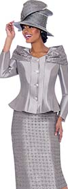 Terramina 7792-Silver - Womens Church Suit With Shoulder Accented Peplum Jacket And Grid Patterned Skirt