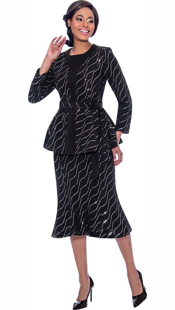 Terramina 7793 Embellished Flared Skirt Suit With Belted Peplum Jacket