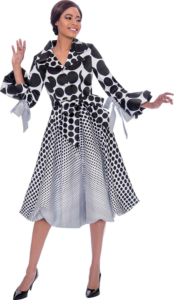Terramina 7794 Pleated Polka Dot Dress Decorated With Bows
