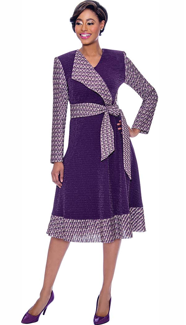 Terramina 7796 Mock Wrap Dress With Solid And Pattern Design