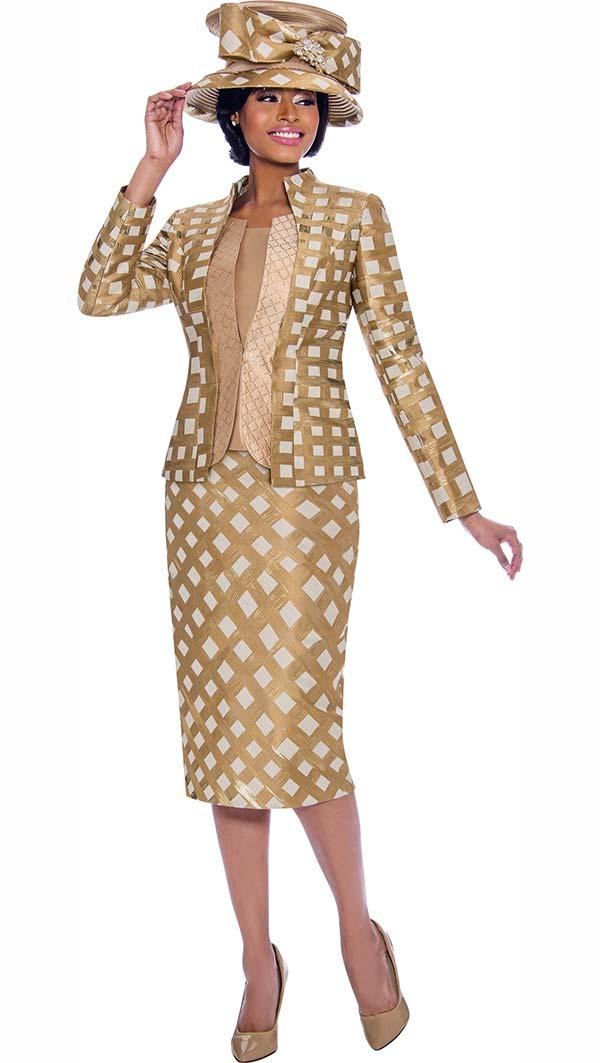 Terramina 7797 - Womens Skirt Suit With Lattice Pattern Design