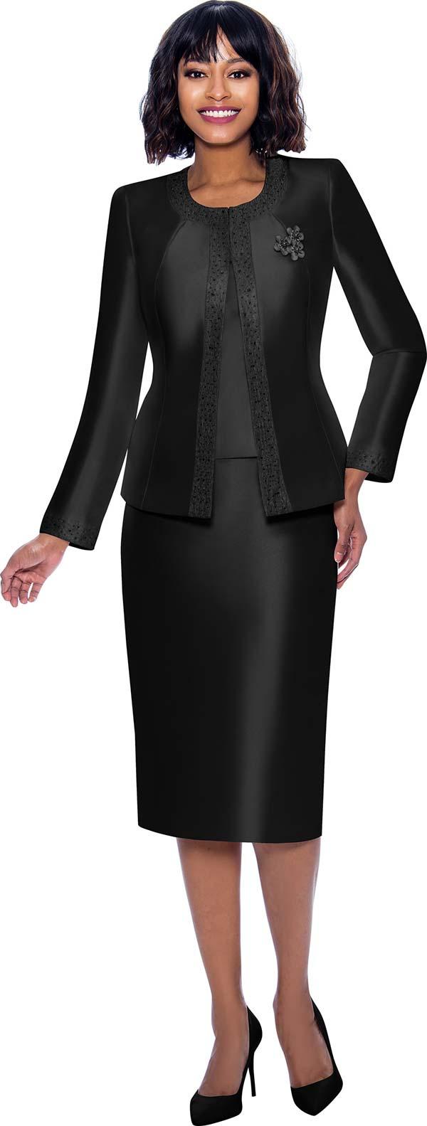 Terramina 7637-Black - Church Suit With Embellished Trim On Jacket