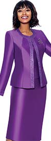 Terramina 7637-Purple - Church Suit With Embellished Trim On Jacket