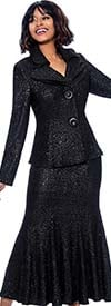 Terramina 7656-Black - Flared Skirt Suit With Layered Collar And Two Button Jacket