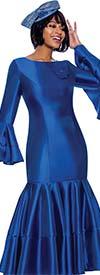 Terramina 7764-Royal - Pleated Drop Waist Dress With Flounce Sleeves