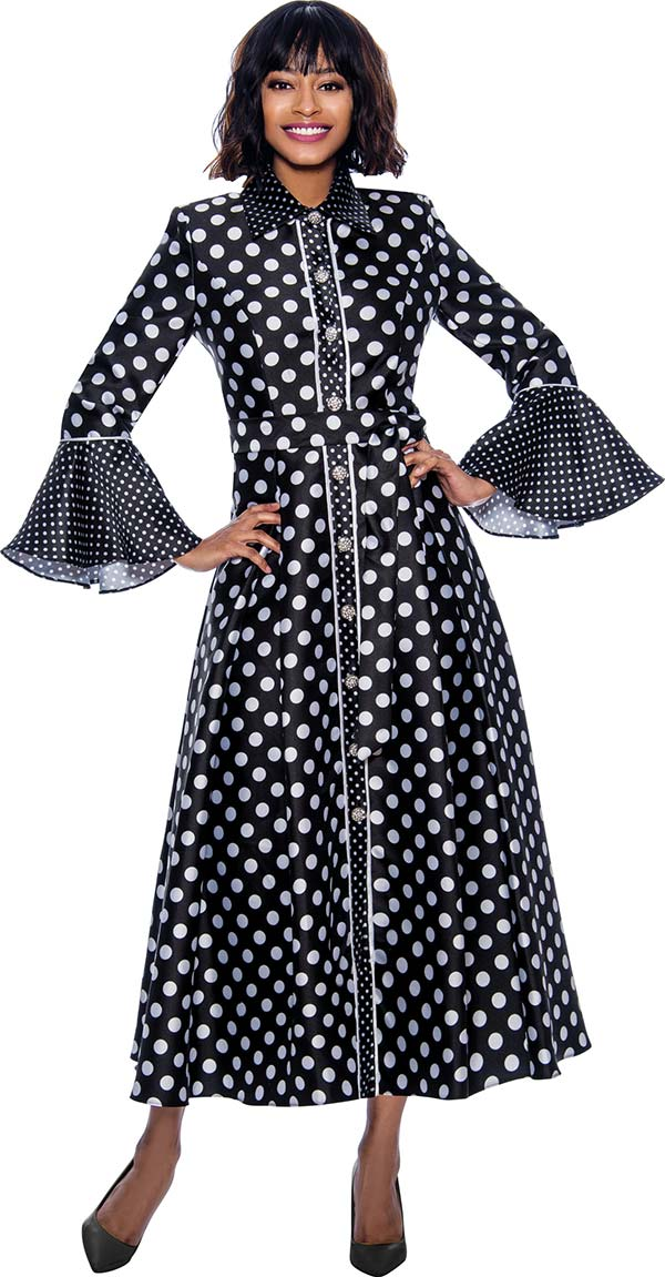 Terramina 7785-Black - Long Pleated Dress In Polka Dot Design With Bell Cuff Sleeves