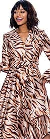 Terramina 7838 - Abstract Print A-Line Rolled Cuff Sleeve Dress With Layered Collar And Sash