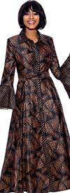 Terramina 7858 - Polka Dot Print Lapel Collar Dress With Flounce Bell Sleeves