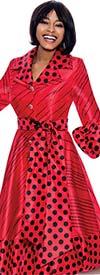 Terramina 7863 - Polka Dot Print Notch Lapel Dress With Puff Cuff Sleeves And Sash