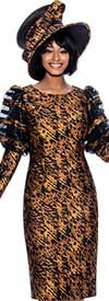 Terramina 7864 Mesh Inset Detail Puff Sleeve Womens Dress In Abstract Print Design