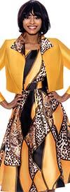Terramina 7866 - Revers Collar Bolero Jacket And Dress Set In Animal Print Multi Color Design