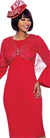 Terramina 7868 Womens Church Dress With Bell Cuff Sleeves And Embellished Shawl Feature