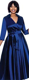 Terramina 7869-Midnight Blue - Wing Collar Vee Neckline Pleated Dress With Sash