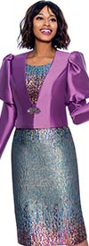 Terramina 7873 - Multi-Color Dress & Solid Jacket Set With Puff Sleeves