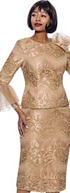 Terramina 7861-Champagne - Womens Church Suit With Lace Accents And Layered Mesh Flounce Cuff Sleeves