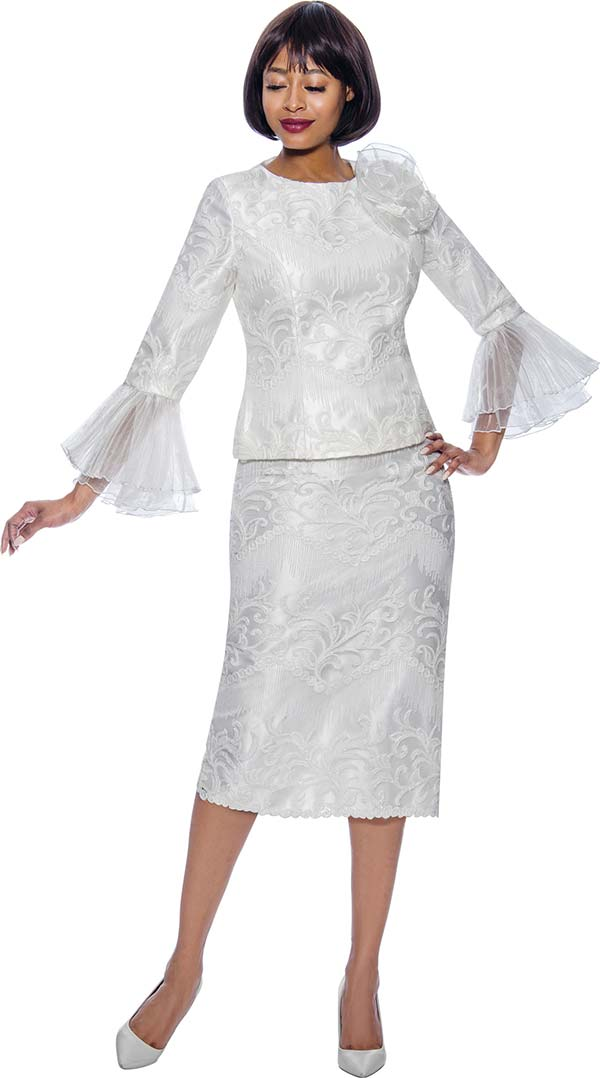 Terramina 7861-Pearl - Womens Church Suit With Lace Accents And Layered Mesh Flounce Cuff Sleeves