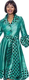 Terramina 7863-Green - Polka Dot Print Notch Lapel Dress With Puff Cuff Sleeves And Sash