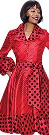 Terramina 7863-Red - Polka Dot Print Notch Lapel Dress With Puff Cuff Sleeves And Sash