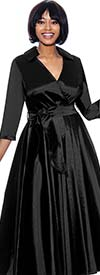 Terramina 7869-Black - Wing Collar Vee Neckline Pleated Dress With Sash
