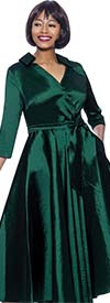 Terramina 7869-Green - Wing Collar Vee Neckline Pleated Dress With Sash