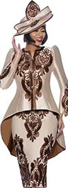Terramina 7893-Brown - Womens Skirt Suit With High-Low Jacket Featuring Soutache Embroidery