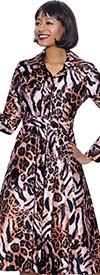 Terramina 7916 -  Animal Print Design Wing Collar Dress With Sash