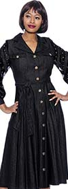 Terramina 7921-Black - Denim Look Dress With Embellished Mesh Inset Bishop Sleeves And Belt