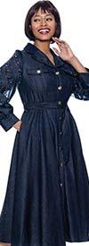 Terramina 7921-Blue - Denim Look Dress With Embellished Mesh Inset Bishop Sleeves And Belt