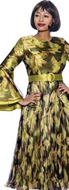 Terramina 7922 - Pleated Dress In Print Design With Layered Bell Sleeves