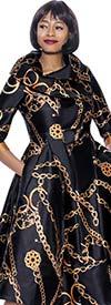 Terramina 7924 -  Asymmetric Collar A-Line Dress In Link Print Design